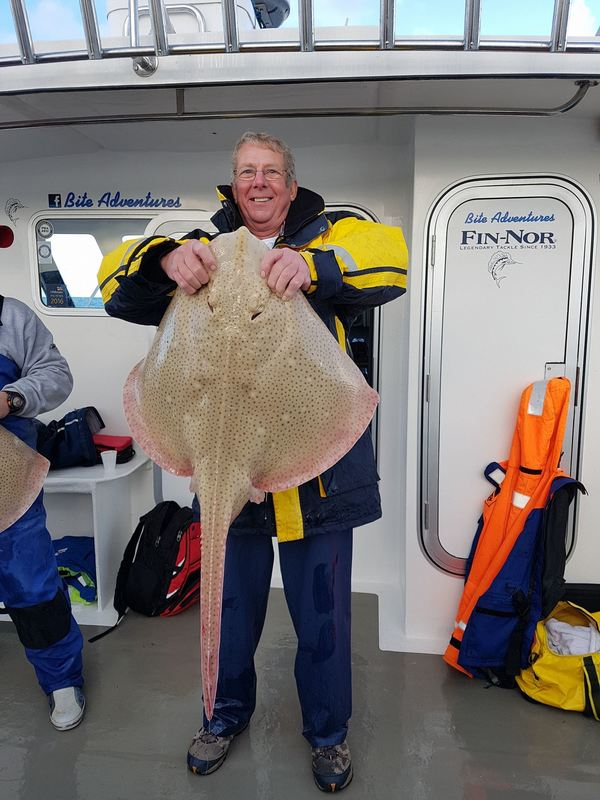 Alan Manaton with a big Blonde Ray of 27lb 7oz caught on Bite Adventures
